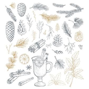 Ensemble dessiné à la main avec des éléments de noël, des pommes de pin et des branches.