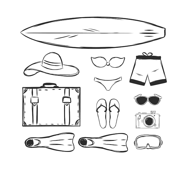 Ensemble dessiné à la main d'éléments de vacances d'été.