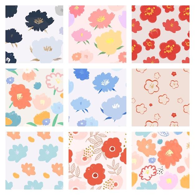Ensemble dessiné à la main de fond de motif floral