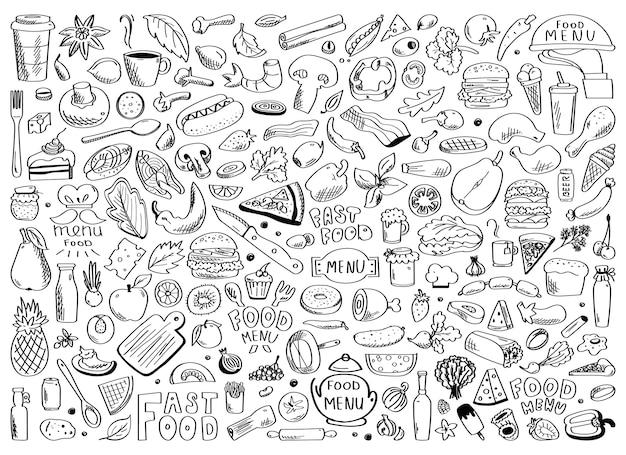 Ensemble dessiné à la main de griffonnages d'ingrédients alimentaires sains avec lettrage