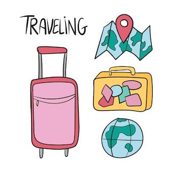 Ensemble dessiné à la main de griffonnages de vecteur de voyage en couleur