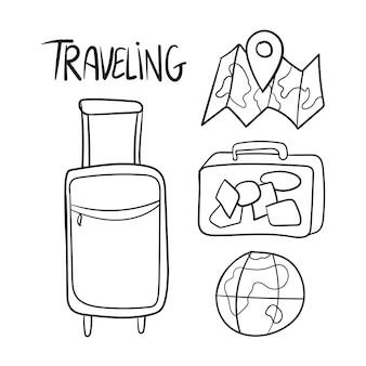 Ensemble dessiné à la main de griffonnages de vecteur de voyage - noir et blanc
