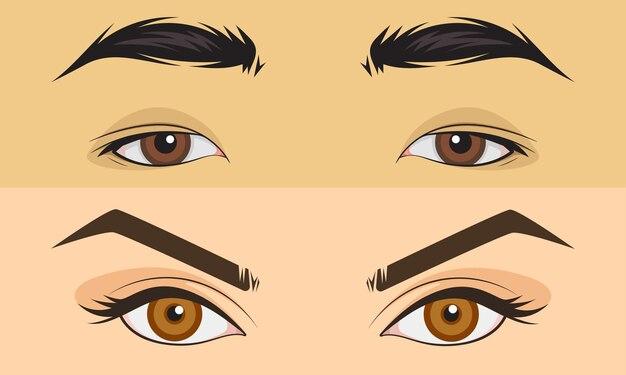 Ensemble dessiné à la main hommes et fille bouchent la zone des yeux