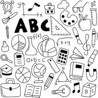Ensemble dessiné à la main de l'icône de l'école