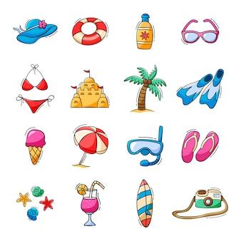 Ensemble dessiné à la main d'icônes d'été dans un style doodle