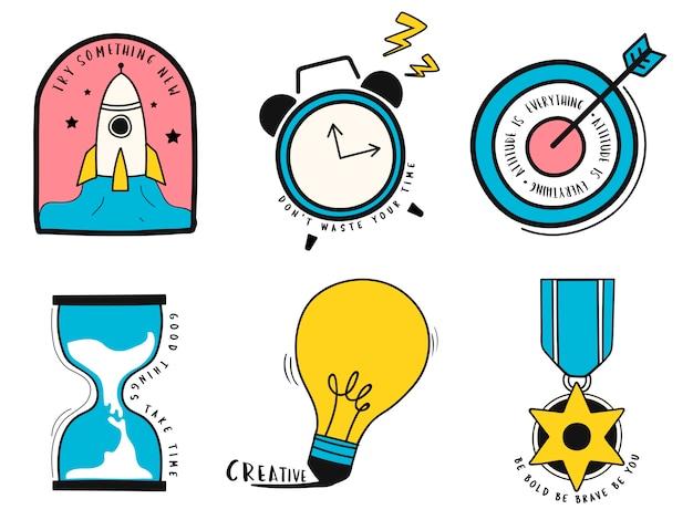 Ensemble dessiné à la main d'illustration de symboles idée et entreprise