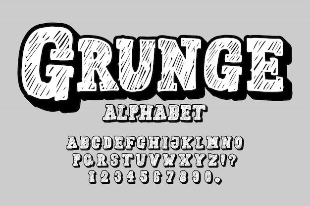 Ensemble dessiné à la main de la lettre de l'alphabet