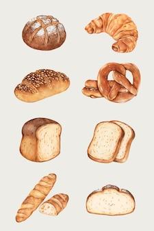 Ensemble dessiné à la main de pain frais