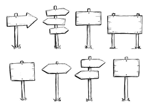 Ensemble dessiné à la main de panneau de direction de route