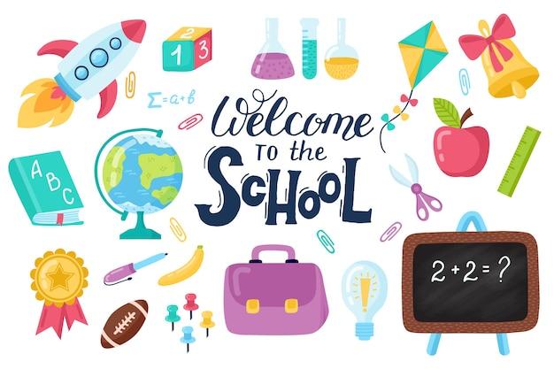 Ensemble dessiné à la main pour l'éducation de la rentrée scolaire ensemble de scrapbooking sticker