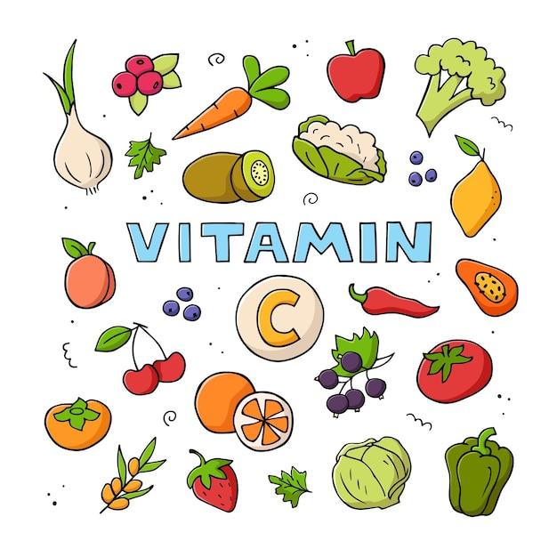 Ensemble dessiné à la main de sources de vitamine c.