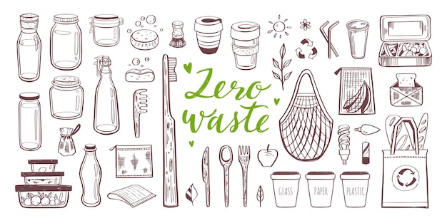 Ensemble dessiné à la main zéro déchet et écologie. collection d'éléments écologiques et naturels