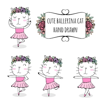 Ensemble de dessinés à la main chat mignon ballerine