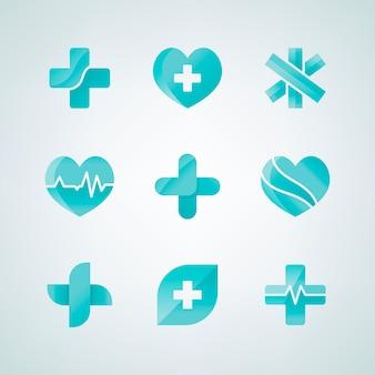 Ensemble de dessins 3d d'icônes médicales