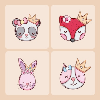 Ensemble de dessins animés d'animaux mignons