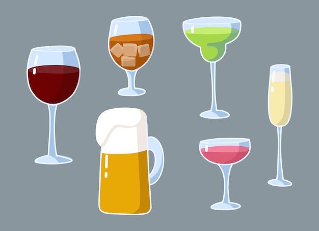 Ensemble de dessins animés de boissons alcoolisées.