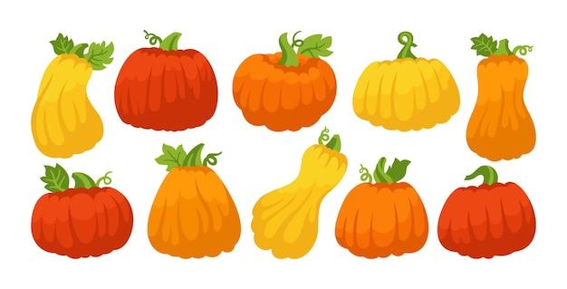 Ensemble de dessins animés de citrouilles automne halloween ou symbole du festival de thanksgiving