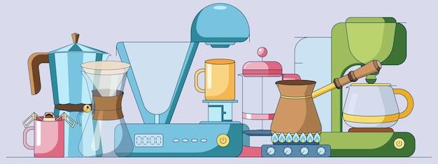 Ensemble de dessins animés de collections d'éléments de café dans un style plat isolé sur fond violet