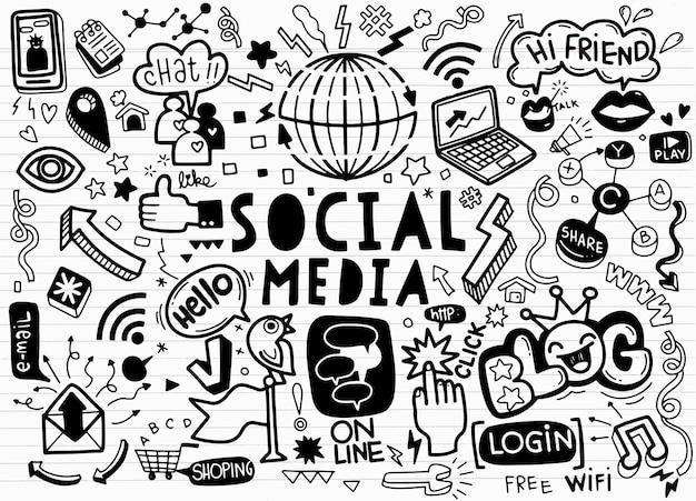 Ensemble de dessins animés doodle d'objets et de symboles sur le thème des médias sociaux