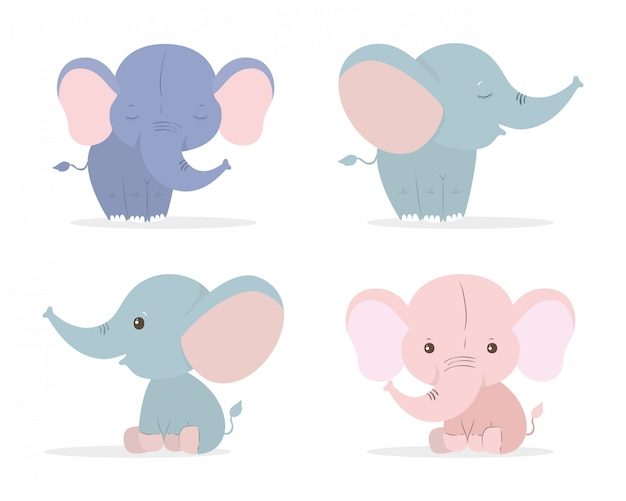 Ensemble de dessins animés d'éléphants mignons