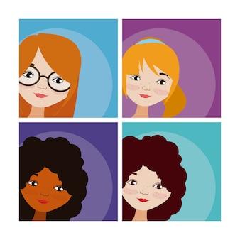 Ensemble de dessins animés femme