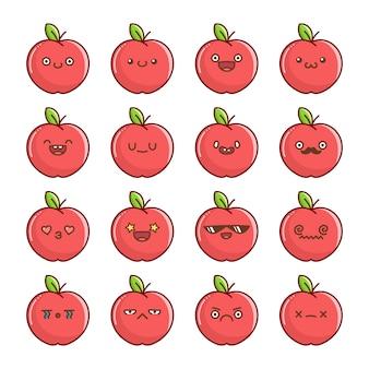 Ensemble de dessins animés de fruits de pomme rouge kawaii amusants