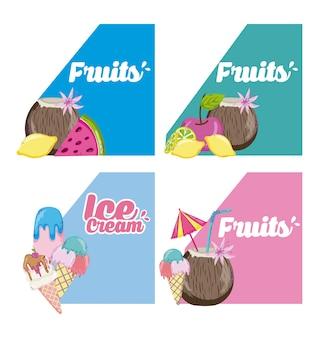 Ensemble de dessins animés de fruits