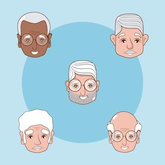 Ensemble de dessins animés de grands-pères