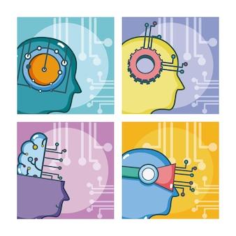 Ensemble de dessins animés d'intelligence artificielle sur des cadres carrés