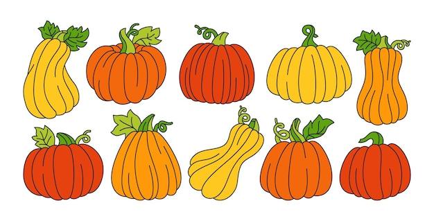 Ensemble de dessins animés de ligne de citrouille doodle dautomne