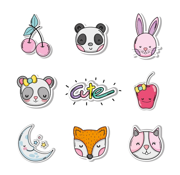 Ensemble de dessins animés mignons