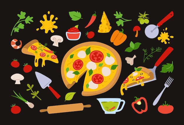 Ensemble de dessins animés de morceaux de pizza et d'ingrédients pizzas italiennes dessinées à la main avec légumes verts, poivrons, tomates, olive, fromage, champignons.