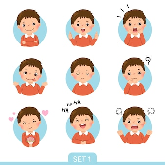Ensemble de dessins animés d'un petit garçon dans différentes postures avec diverses émotions. ensemble 1 sur 3.