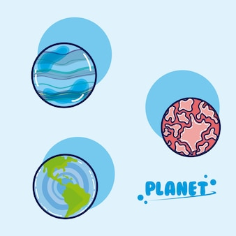 Ensemble de dessins animés de planètes de galaxie