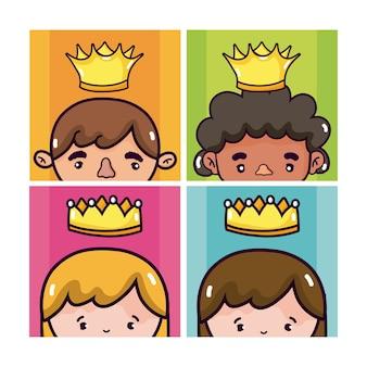 Ensemble de dessins animés rois et reine