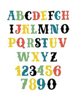 Ensemble de dessins animés vectoriels de polices et de chiffres de style occidental dans des couleurs dirrerent. alphabet de lettrage serif décoratif rétro. majuscules empattements supérieurs abc