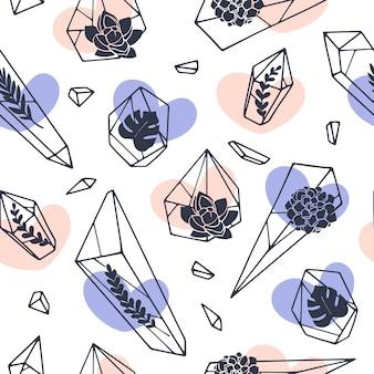 Ensemble de dessins au trait dessinés à la main des minéraux