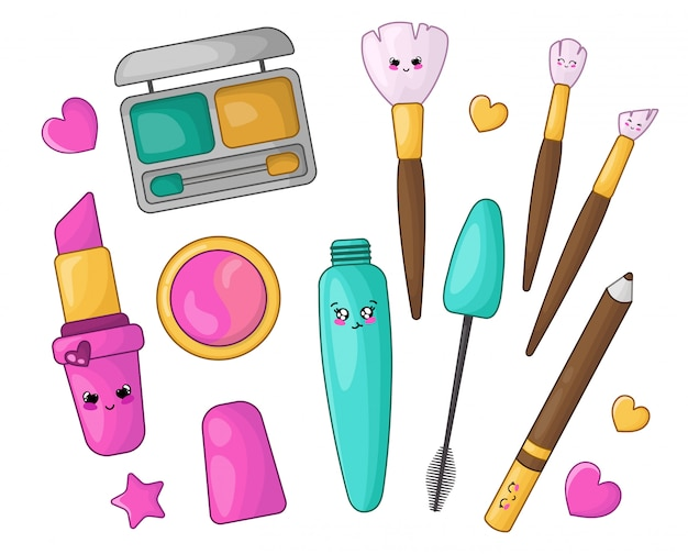 Ensemble de dessins avec des cosmétiques kawaii pour le maquillage - rouge à lèvres, ombre à paupières, fard à joues, eye-liner, pinceau de maquillage, mascara
