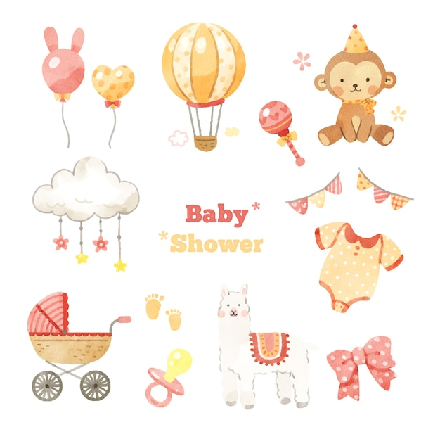 Ensemble de dessins de douche de bébé