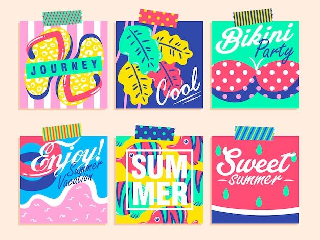 Ensemble de dessins d'été colorés