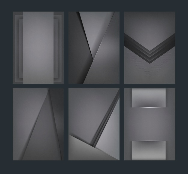 Ensemble de dessins de fond abstrait en gris foncé