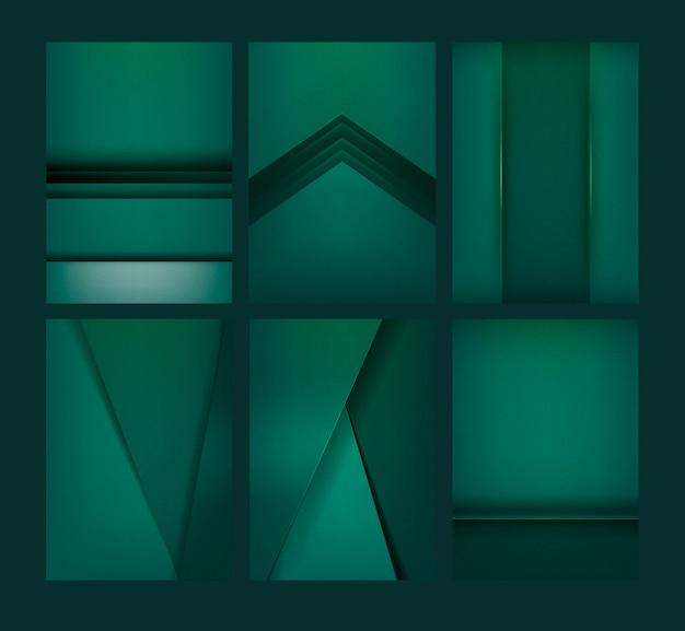 Ensemble de dessins de fond abstrait en vert émeraude