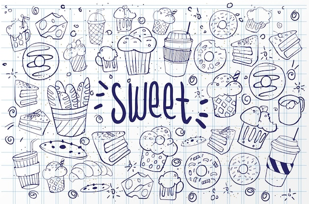 Ensemble de dessins sur les gâteaux à thème. gâteaux, tartes, pain, biscuits, bonbons et autres produits de confiserie. illustration vectorielle