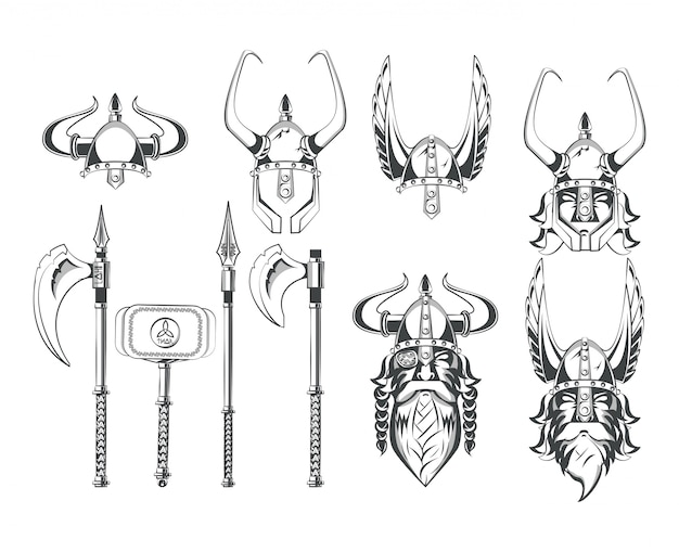 Ensemble de dessins de guerriers vikings