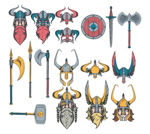 Ensemble de dessins de guerriers vikings
