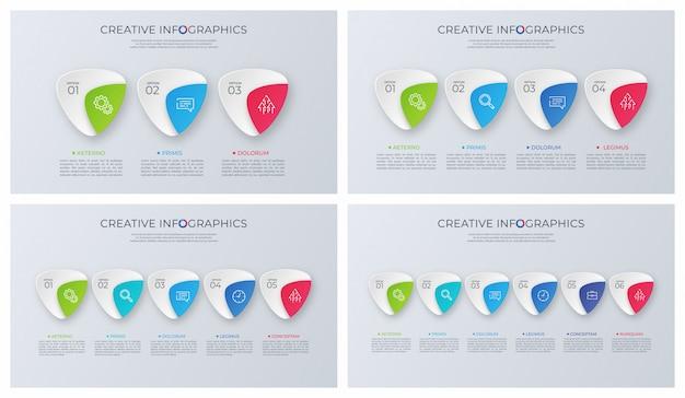 Ensemble de dessins infographiques de vecteur minimaliste contemporain.