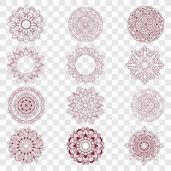 Ensemble de dessins de mandala moderne