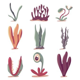 Ensemble de dessins vectoriels de plantes préhistoriques isolé sur fond blanc.