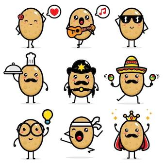 Ensemble de dessins vectoriels de pommes de terre mignons