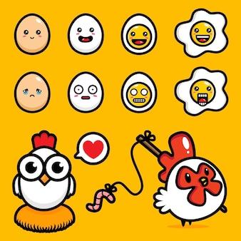 Ensemble de dessins vectoriels poulet et oeuf